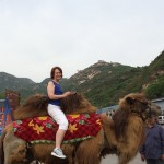 President Schott on a camel at the base of Badaling Mountain
