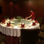 Traditional Chinese table set for dinner