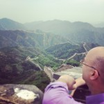 Checking out the expansive view from the Great Wall
