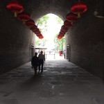 Red lanterns line one of the entrances to the Xi'an City Wall